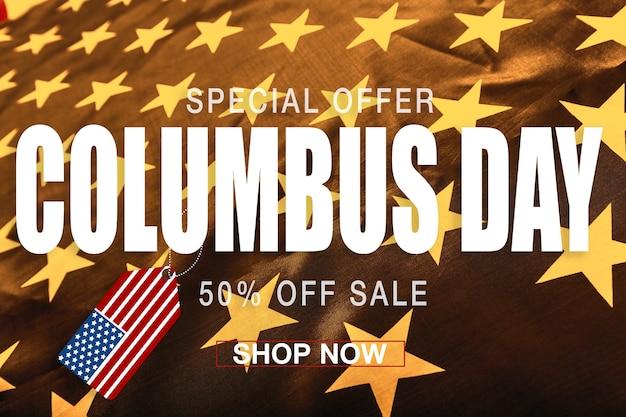 Bannière de jour de columbus heureux, fond patriotique américain