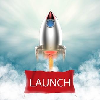 Bannière de lancement suspendue à la navette spatiale