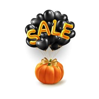 Bannière de magasinage et de vente d'halloween avec une citrouille réaliste s'envole sur des ballons noirs