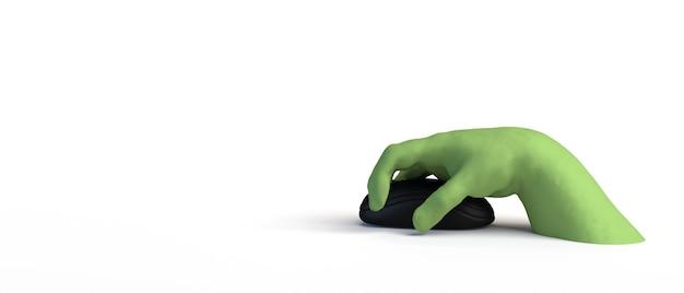 Bannière de main de zombie à l'aide d'une souris halloween en ligne et illustration 3d sûre