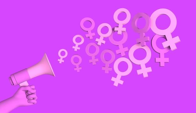 Bannière avec mégaphone et symboles féminins rendu 3d de la journée internationale de la femme