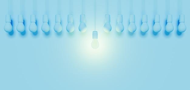 Bannière monochromatique avec une ligne d'ampoules bleues et une centrale éclairée avec du verre. rendu 3d