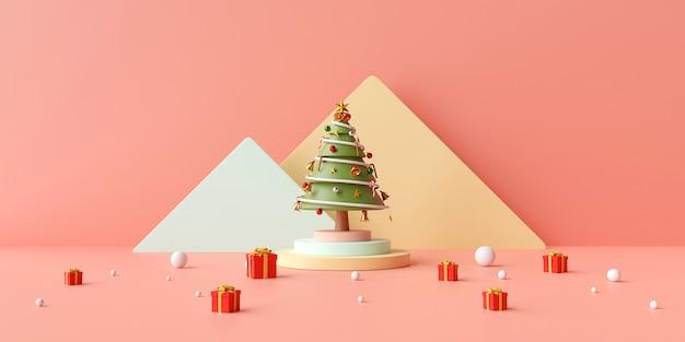 Bannière de noël d'arbre de noël sur podium avec boîte de cadeaux sur fond rose, rendu 3d