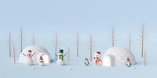 Bannière de noël de bonhomme de neige et ami avec igloo
