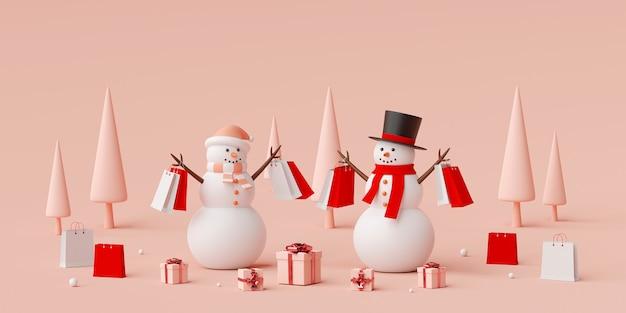 Bannière de noël avec un bonhomme de neige tenant des sacs à provisions