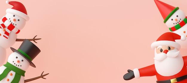 Bannière de noël du père noël et bonhomme de neige sur fond rose, rendu 3d