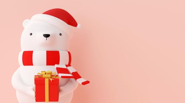 Bannière de noël personnage ours tenant cadeau de noël rendu 3d