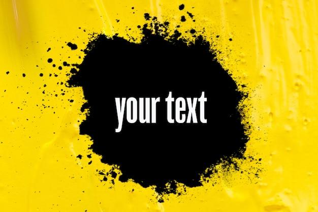 Bannière noire sur peinture colorée. publicité. trait inégal sur une surface colorée. photo de haute qualité