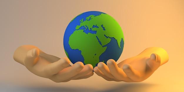 Bannière de philanthropie. mains tenant le ballon du monde. charité. illustration 3d.