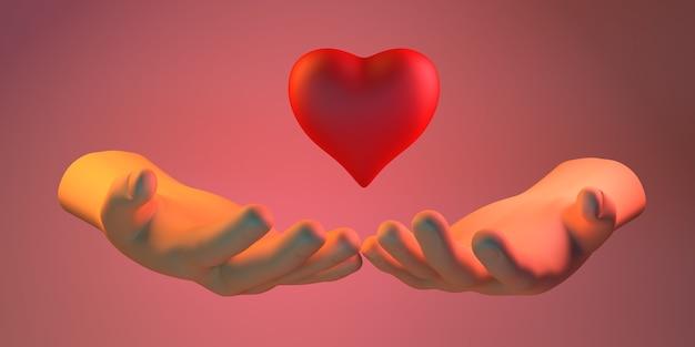 Bannière de philanthropie. mains tenant un coeur. charité. illustration 3d.