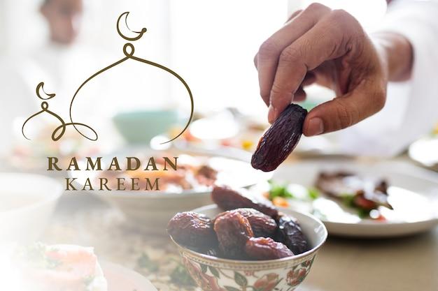 Bannière ramadan kareem avec salutation