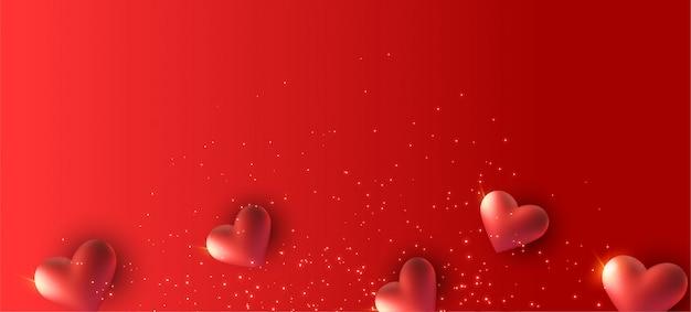 Bannière rouge avec coeurs 3d