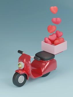 Bannière de la saint-valentin avec coeur en boîte sur scooter.