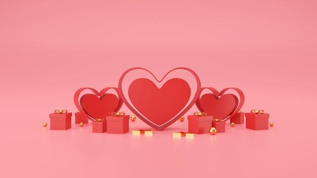 Bannière de la saint-valentin heureuse. coeur, cadeau et boîte sur fond rose. espace pour le texte. illustration 3d
