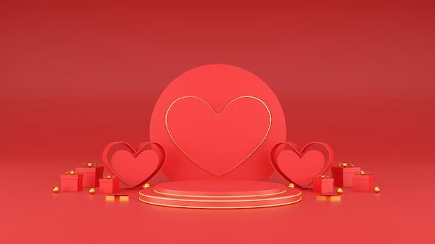 Bannière De La Saint-valentin Heureuse. Coeur, Cadeau Et Boîte Sur Fond Rose. Espace Pour Le Texte. Illustration 3d Photo Premium