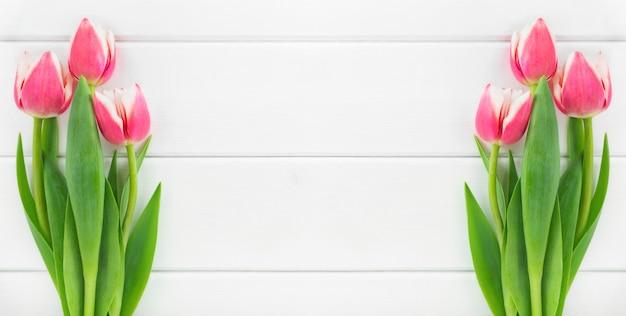 Bannière avec tulipes sur fond en bois blanc.