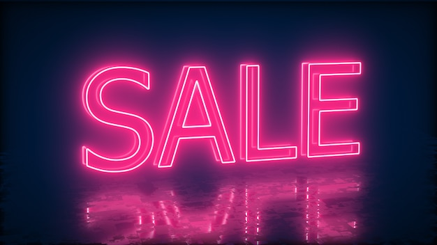Bannière de vente au néon pour promo. concept de vente et de liquidation.