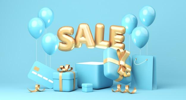 Bannière de vente sur fond bleu. mot de vente, ballons, carte de crédit, sac à provisions, coffrets cadeaux, éléments de ruban doré qui traînent. rendu 3d