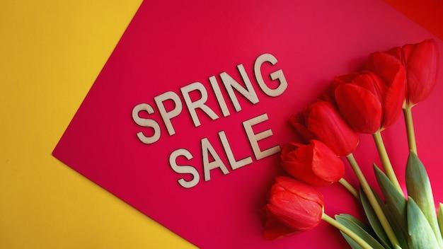 Bannière de vente de printemps avec des tulipes roses sur fond coloré