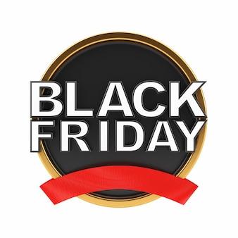 Bannière de vente vendredi noir sur fond blanc. rendu 3d