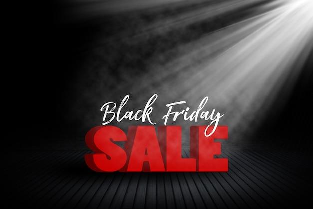 Bannière de vente vendredi noir avec intérieur de la pièce et projecteur