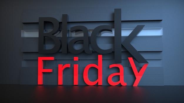 Bannière de vente vendredi noir avec libellé 3d