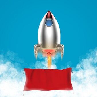 Bannière vierge suspendue au lancement de la navette spatiale