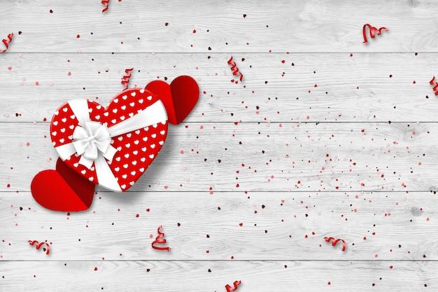 Bannière web festive de la saint-valentin heureuse vue de dessus d'une composition romantique avec des coffrets cadeaux
