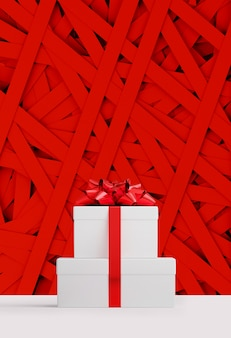 Bannière web joyeux noël et bonne année. boîte cadeau blanche et ruban arc rouge sur une bande de papier rouge aléatoire. illustration de rendu 3d.