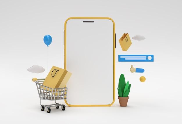 Bannière web de maquette de magasinage en ligne mobile de rendu 3d créatif, matériel de marketing, présentation, publicité en ligne.