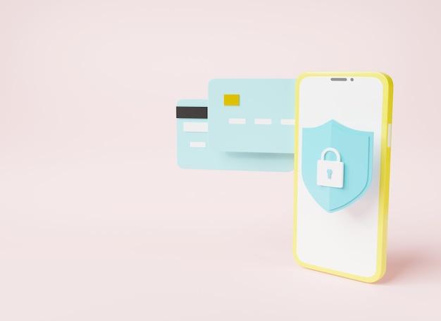Banque mobile sécurisée avec carte de crédit et icône en forme de serrure illustration de rendu 3d