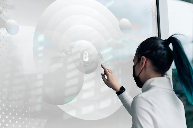 La banque numérique sur un écran transparent