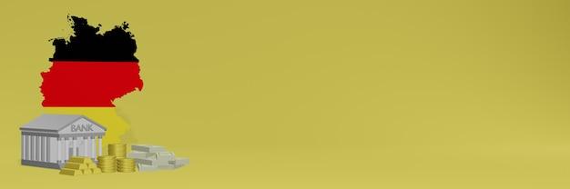 La banque avec des pièces d'or en allemagne pour la télévision sur les réseaux sociaux et les couvertures de fond de site web peut être utilisée pour afficher des données ou des infographies dans un rendu 3d.