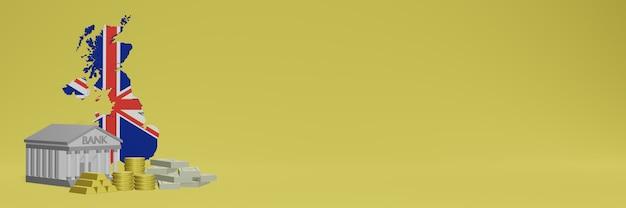 La banque avec des pièces d'or en angleterre pour la télévision sur les réseaux sociaux et les couvertures de fond de site web peut être utilisée pour afficher des données ou des infographies dans un rendu 3d.