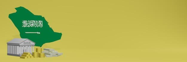 La banque avec des pièces d'or en arabe pour la télévision sur les réseaux sociaux et les couvertures de fond de site web peut être utilisée pour afficher des données ou des infographies dans un rendu 3d.