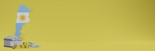 La banque avec des pièces d'or en argentine pour la télévision sur les réseaux sociaux et les couvertures de fond de site web peut être utilisée pour afficher des données ou des infographies dans un rendu 3d.
