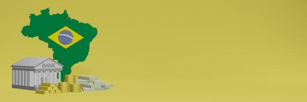 La banque avec des pièces d'or au brésil pour la télévision sur les réseaux sociaux et les couvertures de fond de site web peut être utilisée pour afficher des données ou des infographies dans un rendu 3d.