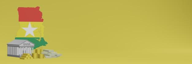 La banque avec des pièces d'or au ghana pour la télévision sur les réseaux sociaux et les couvertures de fond de site web peuvent être utilisées pour afficher des données ou des infographies dans un rendu 3d.