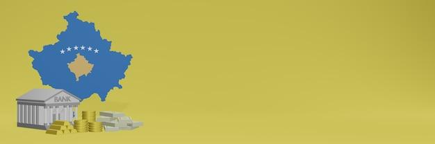 La banque avec des pièces d'or au kosovo pour la télévision sur les médias sociaux et les couvertures de fond de site web peuvent être utilisées pour afficher des données ou des infographies dans un rendu 3d.