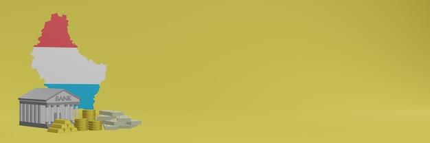 La banque avec des pièces d'or au luxembourg pour la télévision sur les réseaux sociaux et les couvertures de fond de site web peuvent être utilisées pour afficher des données ou des infographies dans un rendu 3d.
