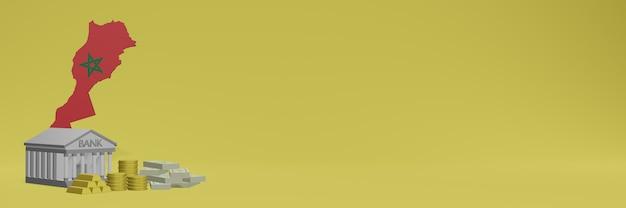 La banque avec des pièces d'or au maroc pour la télévision sur les réseaux sociaux et les couvertures d'arrière-plan de sites web peuvent être utilisées pour afficher des données ou des infographies dans un rendu 3d.