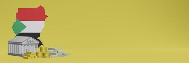 La banque avec des pièces d'or au soudan pour la télévision sur les réseaux sociaux et les couvertures de fond de site web peuvent être utilisées pour afficher des données ou des infographies dans un rendu 3d.