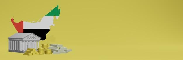 La banque avec des pièces d'or aux émirats arabes unis pour la télévision sur les réseaux sociaux et les couvertures de fond de site web peut être utilisée pour afficher des données ou des infographies dans un rendu 3d.