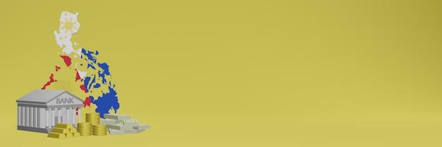 La banque avec des pièces d'or aux philippines pour la télévision sur les réseaux sociaux et les couvertures d'arrière-plan de site web peut être utilisée pour afficher des données ou des infographies dans un rendu 3d.