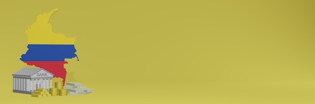 La banque avec des pièces d'or en colombie pour la télévision sur les réseaux sociaux et les couvertures de fond de site web peut être utilisée pour afficher des données ou des infographies dans un rendu 3d.