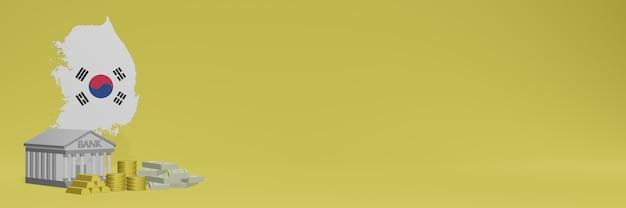 La banque avec des pièces d'or en corée pour la télévision sur les réseaux sociaux et les couvertures de fond de site web peut être utilisée pour afficher des données ou des infographies dans un rendu 3d.
