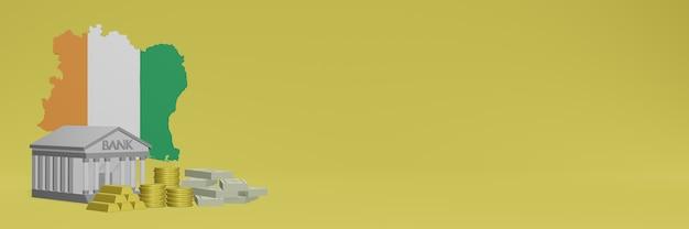 La banque avec des pièces d'or en côte d'ivoire pour la télévision sur les réseaux sociaux et les couvertures de fond de site web peuvent être utilisées pour afficher des données ou des infographies dans un rendu 3d.