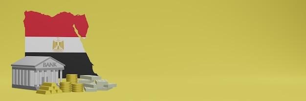 La banque avec des pièces d'or en egypte pour la télévision sur les réseaux sociaux et les couvertures de fond de site web peuvent être utilisées pour afficher des données ou des infographies dans un rendu 3d.