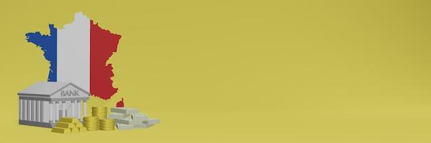 La banque avec des pièces d'or en france pour la télévision sur les réseaux sociaux et les couvertures de fond de site web peuvent être utilisées pour afficher des données ou des infographies dans un rendu 3d.