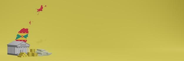 La banque avec des pièces d'or à la grenade pour la télévision sur les réseaux sociaux et les couvertures de fond de site web peut être utilisée pour afficher des données ou des infographies dans un rendu 3d.